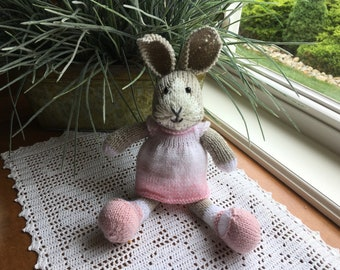 Oatmeal Knit Bunny in Pale Pink Dress