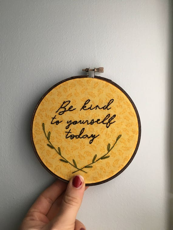 Be Kind hand embroidered wall art