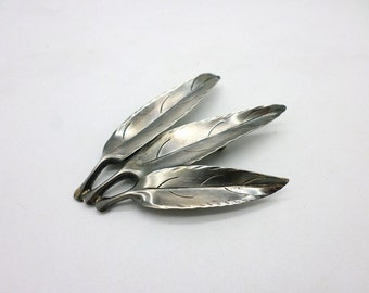 Sterling Silver Stuart Nye Pin Brooch Vintage Style Trio of Leaves Handmade in North Carolina