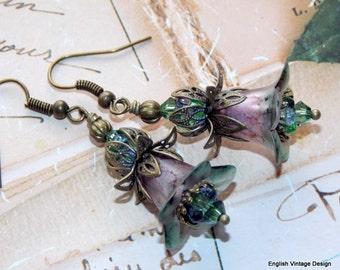 Flower Earrings, 'Fumitory', Victorian Earrings, Boho Earrings, Drop Earrings, Filigree Bronze, Hand Painted Earrings, Lucite Earrings