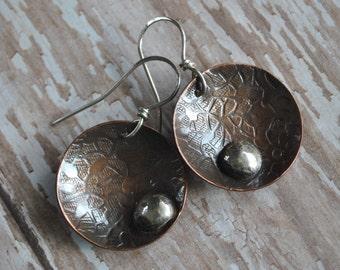 Copper dangling earrings, textured metal earrings, rustic earrings, artisan earrings