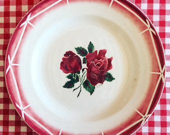 Stunning DIGOIN SARREGUEMINES round serving platter, model CIBON. s. 1940 french vintage. Pink. Guinguette. Country chic.