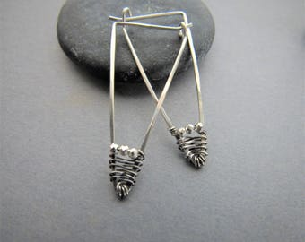 Sterling Silver and Pyrite Arrow Earrings, minmalist earrings, arrow earrrings