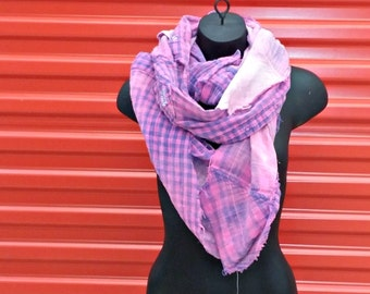 Reclaimed Flannel Infinity Scarf . Recycled Flannel Shirt . Distressed . Deconstructed . Rockabilly . Winter . Goth . Grunge . Pink . Purple
