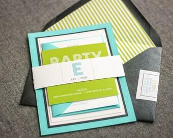 "Aqua Birthday Invitations, Bar Mitzvah Invitations, Initial Wedding Invites, Striped Lime Green Invitations- ""Modern Monogram"" FP-2L SAMPLE"