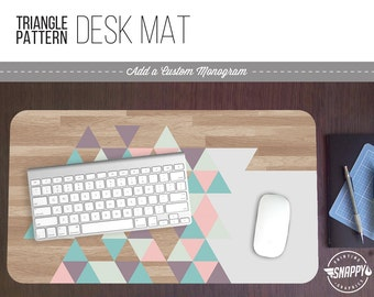 Pastel Triangle Wood Pattern Print Desk Mat w/ Custom Monogram - 2 Sizes -  Office Desk Accessory - Extended Mouse Pad