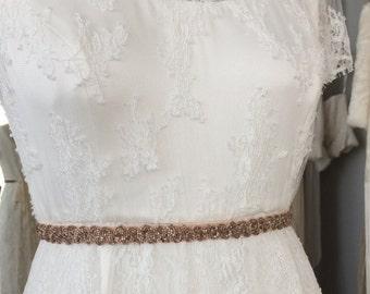1920's blush beaded bridal belt
