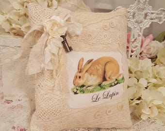 Vintage Shabby Chic Brown Rabbit Le Lapin Accent Pillow Vintage Easter Bunny Lavender Sachet French Rabbit Pillow Vintage Lace Antique Key
