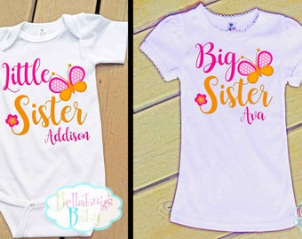 Butterfly Big Sister Little Sister Outfit - Bodysuit or Tshirt - Photo prop - Newborn - Matching Sister Shirts