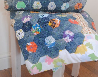 Vintage Cotton and Denim Blue Hexi Patchwork Lap Quilt / Throw hand-pieced and hand-quilted OOAK