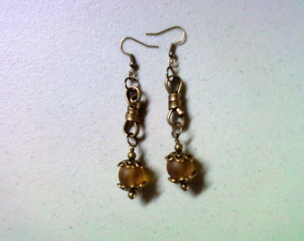 Frosted Gold and Brass Earrings (1474)