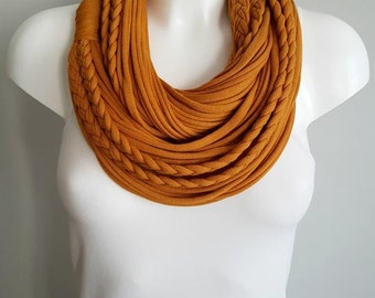 Mustard winter scarf, t shirt infinity scarf, circle scarf, fabric scarf, cotton fabric scarf, chunky scarf