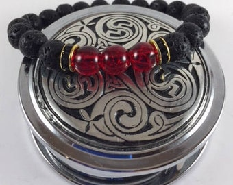 Essential Oil Lava Beads/Siam Ruby Red Center