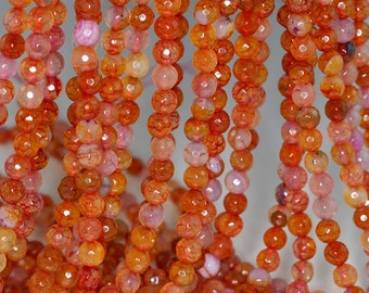 6mm Crackled Agate Gemstone Peach Faceted Round Loose Beads 14.5 inch Full Strand (90183874-366)