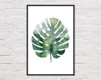 Monstera Print, Monstera Wall Art, Monstera Leaf Art, Monstera Art Print, Monstera Art, Monstera Printable, Monstera Deliciosa, Large Poster