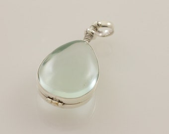 Teardrop Glass Locket Memento Sterling Silver