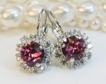 Pink Swarovski Crystal Earrings Rose Pink Clear Crystal Drop earrings Pink Bridesmaids Gift Pink Wedding rhinestones Silver finish,Rose,SE96