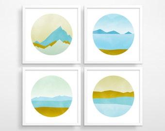 Coastal Decor Beach Art, Set of 4 Prints, Mid Century Modern Art, Pastel Wall Art, Blue Abstract, Geometric Print, Circle Wall Art, PNW