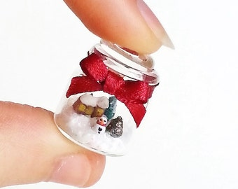 1:12 dollhouse Christmas miniature scene in jar / scale one inch dollhouse Christmas miniature /  Miniature winter wonderland snowball scene