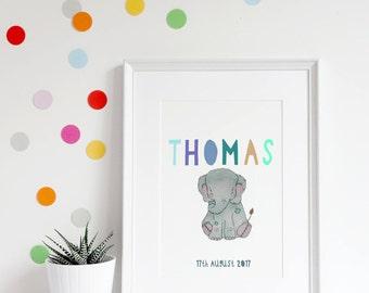 Elephant nursery art, personalised elephant, personalised gift, personalised nursery print, kids decor, baby elephant art, baby boy gift
