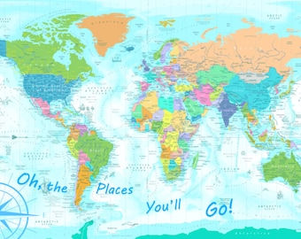 Oh the places youll go map world map for kids kids world map oh the places youll go map poster map poster gumiabroncs Gallery