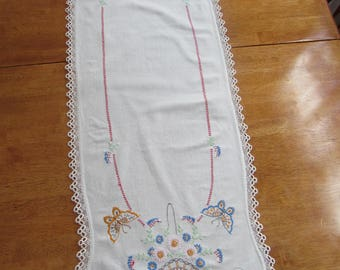 FREE SHIPPING in USA Vintage White  Cotton Dresser Scarf, Table Runner,  Floral Motif Hand Embroidered 2402