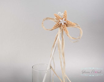 Flower Girl Wand. Starfish, Raffia, Rhinestones, Orange Starfish, Sea Star, raffia, gift for flower girl, junior bridesmaid, Beach Wedding