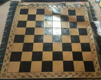Hand Crafted Leather Chess Board