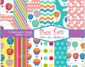ON SALE_ Hot Air Balloons digital paper pack. hot air balloons clip art, Hot Air Balloons background, colorful hot air balloon
