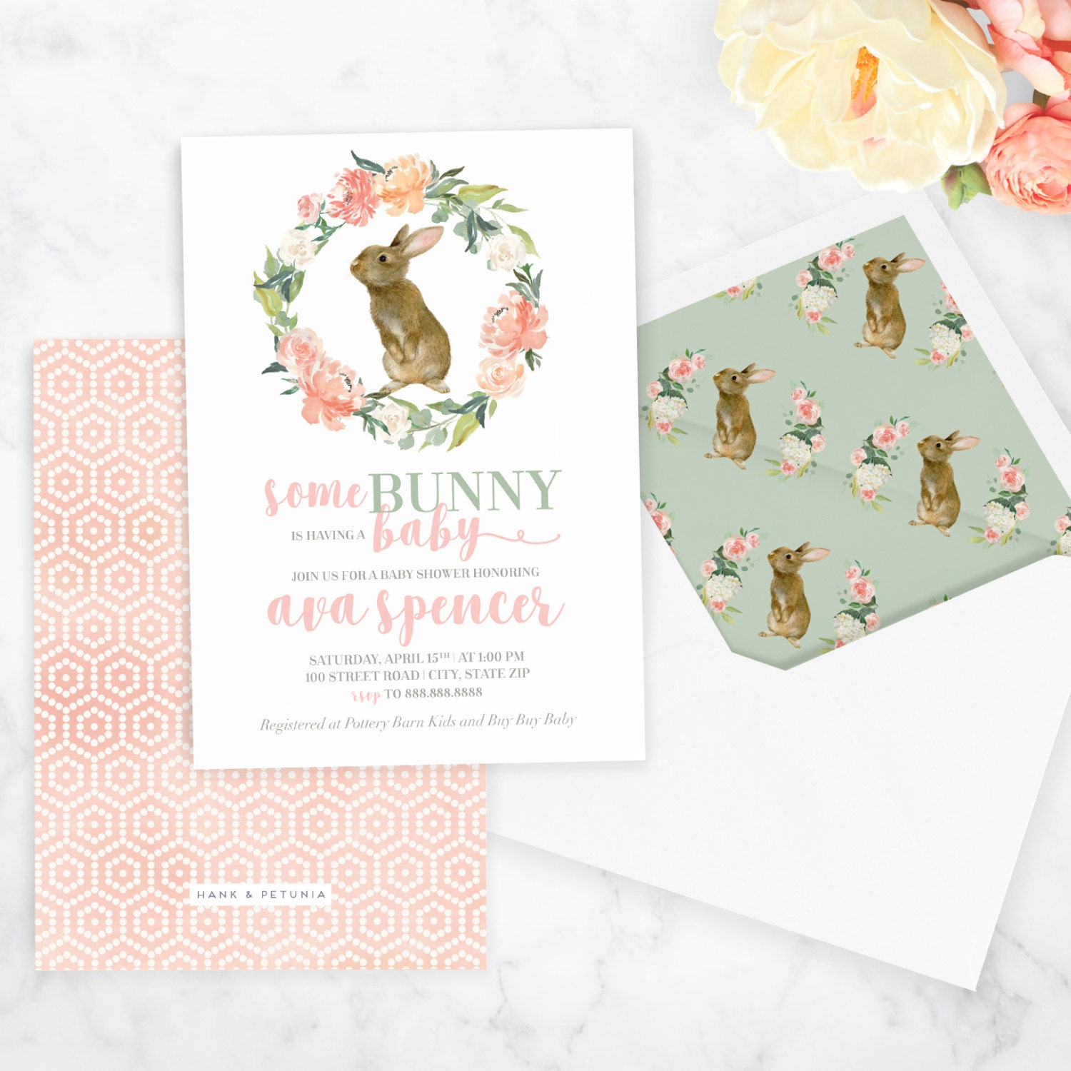 Watercolor Bunny Rabbit Baby Shower Invitation, Spring Baby, Easter ...