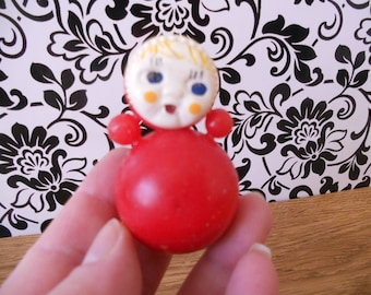 Soviet vintage Red Nevalyashka doll Mini size Plastic Roly-Poly toy from USSR Rare red plastic doll Soviet design Fine doll is made in 70-s