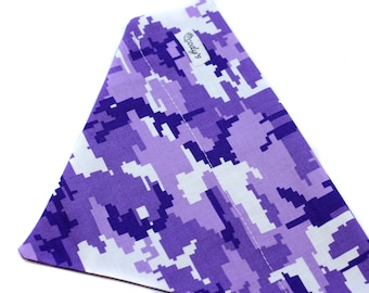 Bandana fits over the collar, Purple Camo