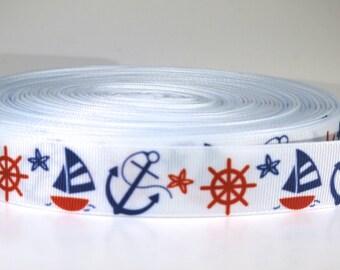 "5 yards of 7/8 inch ""Anchor"" grosgrain ribbon"