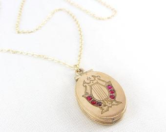 Antique Victorian Gold Filled Locket Fob Necklace   Antique Gold Filled Lyre Locket Pendant Necklace   Victorian Red Stone Music Locket