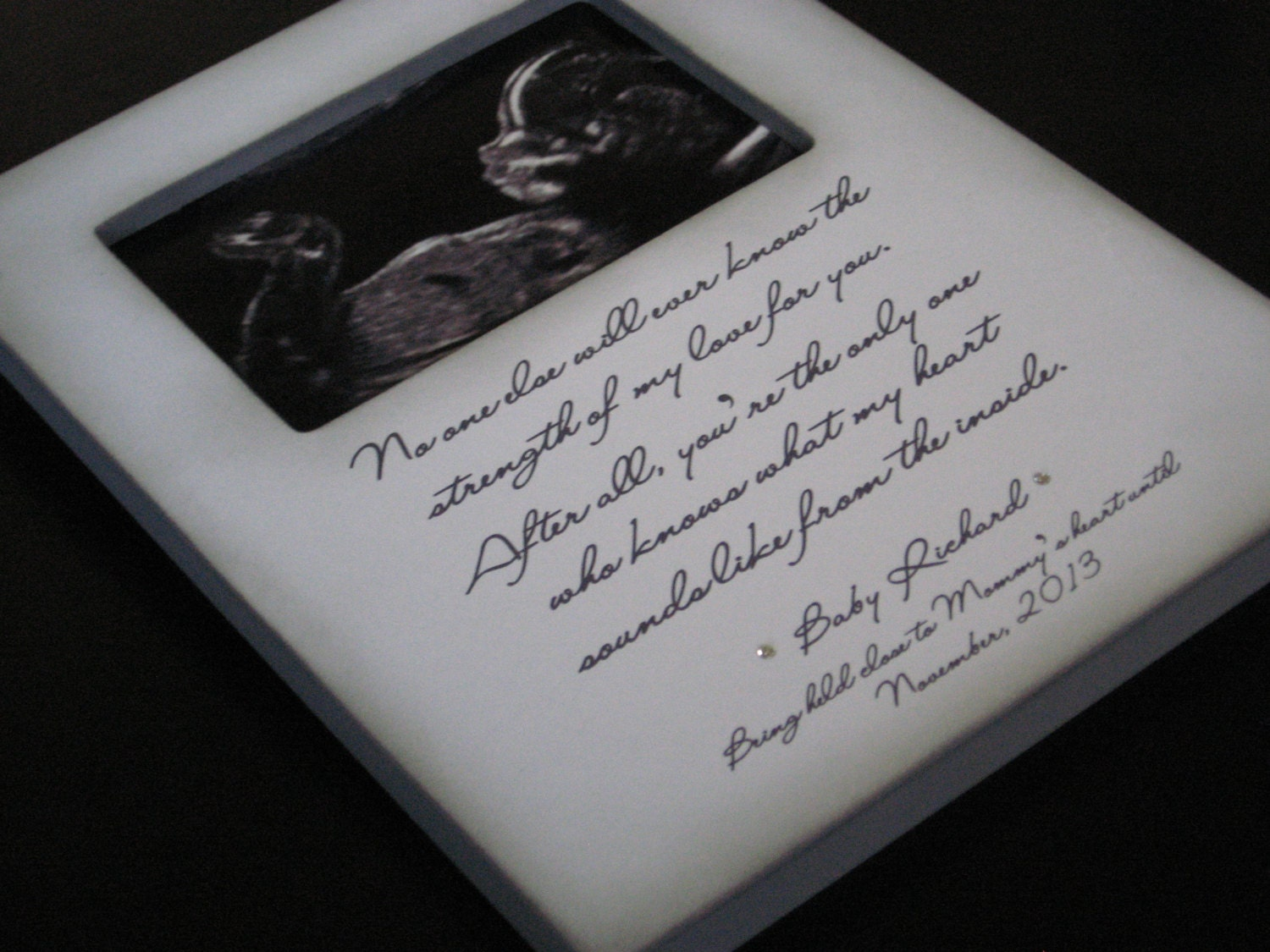 Personalized new baby ultrasound picture frame gift for request a custom order and have something made just for you jeuxipadfo Choice Image
