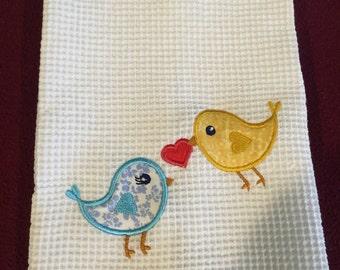 Birds applique kitchen towel