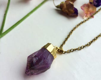 Amethyst Gold Dipped Pendant