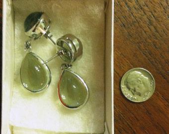 Green Amethyst earrings set in .925 Sterling Silver