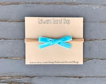 Skinny blue velvet bow, baby girl headband, hand tied bow, baby girl bow, baby headband, nylon headband, baby bow headband, velvet bow