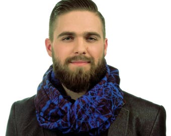 Textile Infinity Scarf / mens scarf / viscose scarf / loop scarves / fabric scarves / gift for him /