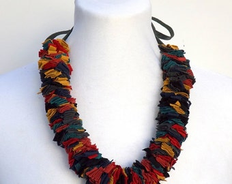 Multi color Fabric Necklace. Colorful fabric strips. Handmade fabric necklace. Fabric jewelry.