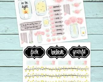 Faith Planner Stickers, Mason Jars, Country, God, Christian, Happy Planner, ERIN CONDREN LIFEPLANNERTM, Bible, Scrapbook, Flowers, Fireflies