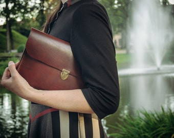 Leather Bag Handbag Clutch Bag Vintage bag Handmade Retro Genuine Leather Brown Black Metropolitan Fashion Women Bag Evening Bag