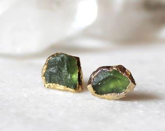 peridot stud earrings, peridot studs, gold earrings, gold studs, raw peridot, gifts for her, organic jewelry