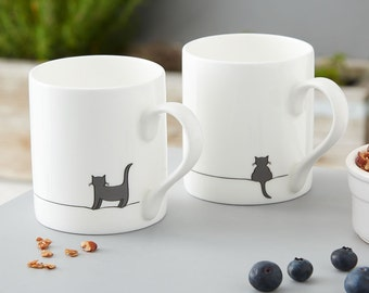 Cat Lover Gift Mug Set, 2 Fine Bone China Mugs with Standing Cat and Crouching Cat, Gift for Cat Lovers, Boxed