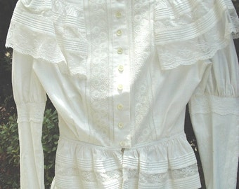 Original Victorian 2 Pc. Summer Dress Lace Trim Cotton Top/Skirt Size 8 Item # 109  Victorians