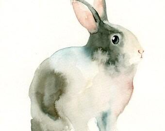 BUNNY 5x7 Print-Art Print-animal Watercolor Print-Giclee Print-Nursery decor-Playroom Decor-Nursery wall art