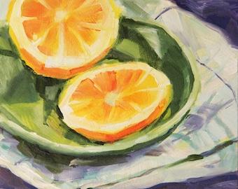 Still life with lemons, original lemon painting, oil painting