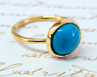 Natural Gold Turquoise Statement Ring, Gold Stone Ring, December Birthstone Ring, Genuine Gold Turquoise Ring, Gold Turquoise Boho Jewelry