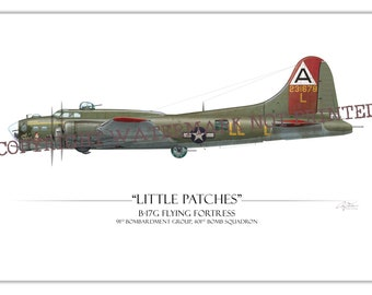 "B-17G Flying Fortress ""Little Patches"" Bomber WW2 Aviation Warbird Art Print"